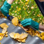 A person cleaning out their gutters as they prepare to winter-proof their home