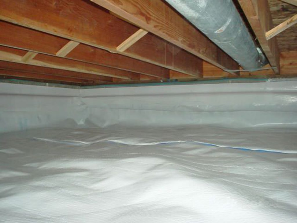 unvented crawlspace area with spray foam insulation