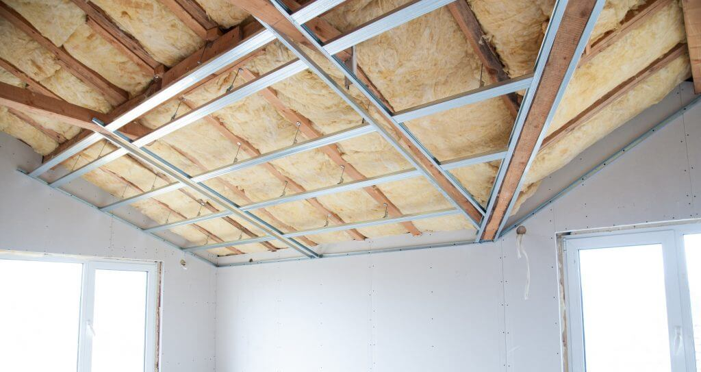 A picture of a ceiling with a fiberglass home insulation in Maryland